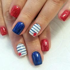Easy Nail Designs to Celebrate Labor Day ★ See more: /.Fun Easy Nail Designs to Celebrate Labor Day ★ See more: /. Fancy Nails, Pretty Nails, Cute Gel Nails, Usa Nails, Patriotic Nails, Gel Nagel Design, Nagellack Design, 4th Of July Nails, Nail Tattoo