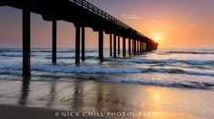 The sun rests at the end of Scripps Pier, La Jolla, CA - by Nick Chill - ♥♥♥♥ home♥♥♥