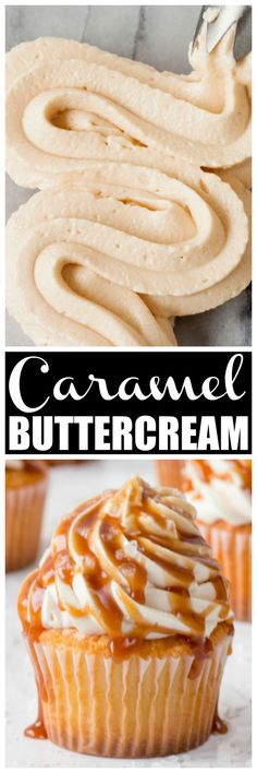 Caramel buttercream frosting is the best caramel frosting every! Perfect for decorating cakes, cupcakes and using as a cake filling. This Caramel Buttercream Frosting is just like you would get at a bakery! Icing Recipe, Frosting Recipes, Cupcake Recipes, Baking Recipes, Cupcake Cakes, Gourmet Cupcakes, Caramel Buttercream Frosting, Homemade Frosting, Cupcake Creme