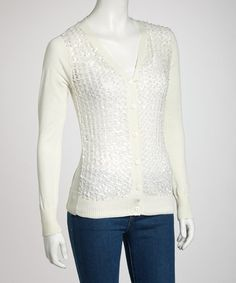 Take a look at this White Sequin V-Neck Cardigan by Buy in America on #zulily today!