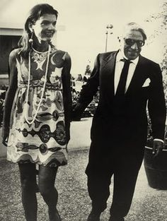 Aristotle Onassis with Jackie who is wearing an Emilio Pucci cotton mini dress to celebrate her 40th birthday in 1969.