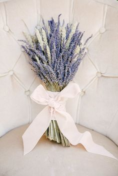 A bushel of lavender is a gorgeous and fragrant bouquet idea for a French Provençal or wine country wedding.