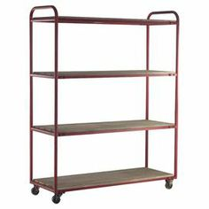 "Showcasing 4 planked wood tiers and a lightly distressed metal frame, this rolling bookcase offers industrial inspiration for your home.  Product: BookcaseConstruction Material: Metal and woodColor: Red and naturalFeatures:  HandmadeFour tiersLightly distressed finish CasteredDimensions: 62"" H x 49"" W x 18"" D"
