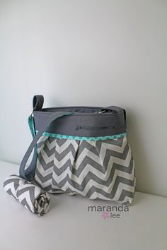 Stella DELUXE Chevron Diaper Bag Set Large with Changing Pad  in Grey Chevron with Gray Accented with Sea Aqua Dot