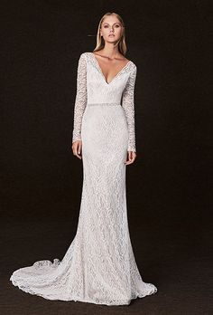 Wedding gown by Victoria Kyriakides (Style Candice). Stunning Wedding Dresses, Fall Wedding Dresses, Wedding Dress Styles, Wedding Gowns, Lace Wedding, Wedding Dress Necklines, Wedding Dress Sleeves, Long Sleeve Wedding, Long Sleeve Lace Gown
