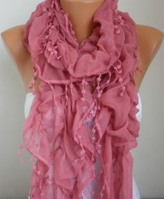 Tea Rose Ruffle Scarf