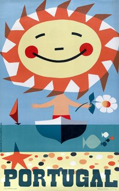 This vintage Portugal travel poster features a boy in a boat with a sun for a head. Illustrated by Gustavo Fontoura. 1959