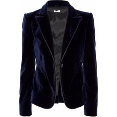 8dfb0a67ef54e Miu Miu Leather-trimmed velvet blazer (2.295 RON) ❤ liked on Polyvore  featuring