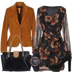 Giacca di velluto e vestito a fiori  outfit donna Basic per tutti i giorni   6eb289c8e7d