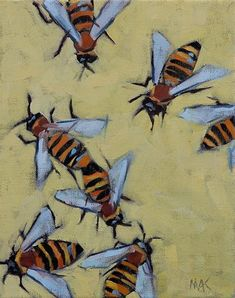 """Daily Paintworks - """"Honey Bees"""" - Original Fine Art for Sale - © Mary Anne Cary"""