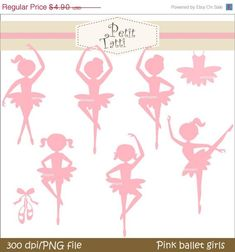 ON SALE Ballet girls clip art pink silhouette by petittatti Ballet Art, Ballet Girls, Ballerina Birthday Parties, Ballerina Party, Ballerina Baby Showers, Dance Themes, Girls Clips, Silhouette Images, Kid Character
