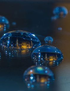 Photographer Dusan Stojancevic depicts metropolises contained within tiny droplets of rainwater.