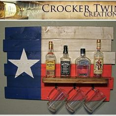 Texas flag rustic liquor rack $55 www.facebook.com/crockertwincreations Infused Water Bottle, Vodka Bottle, Rustic Wine Racks, Cold Treatment, Texas, Fitness Gifts, Refreshing Drinks, Home Improvement Projects, Cool Gadgets