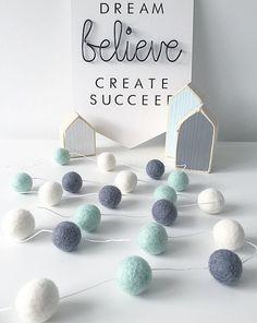 Mint Grey and White, Felt Ball Garland, Nursery Gift, Home Decor, Baby Shower, Nursery Decor, Stocking Filler, Pom Pom Garland, Felt Garland