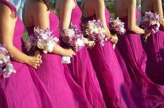 Cerise bridesmaids dresses...