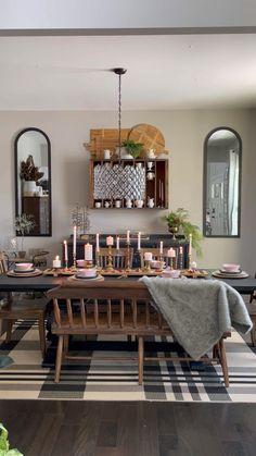 Dining Room Table Decor, Kitchen Decor, Kitchen Ideas, Rustic Dining Rooms, Kitchen Table Light, Mismatched Dining Room, Light Wood Dining Table, Warm Dining Room, Dining Room Fireplace