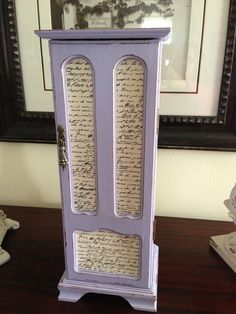 Vintage Jewelry Box Upcycled Hand Painted Decoupaged Lavender. $52.00, via Etsy.