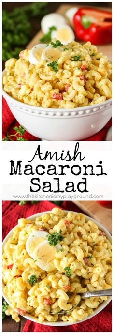 Amish Macaroni Salad ~ A classic old-timey macaroni salad reicpe! Perfect for potlucks,barbecues, and pretty much any everyday meal.  #macaronisalad #Amish #Amishrecipes www.thekitchenismyplayground.com