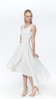 c78ab96bad8 Daisy white color coherent midi dress  Side zip closure. This wedding dress  is feminine