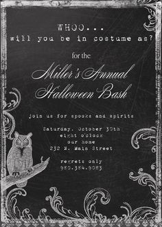 Whoo Custom Owl Halloween Party Invitation by andreagerigdesigns