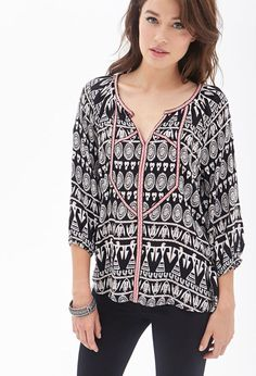 FOREVER 21 Embroidered Tribal Print Tunic