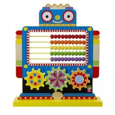 A colorful wooden toy with an abacus to help kids learn to count.