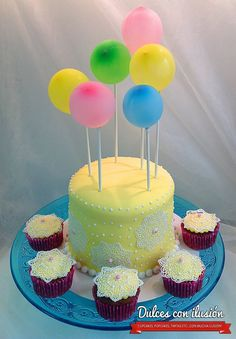 Baloons cake, globos, cupcakes