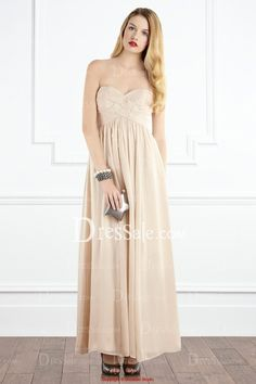 Romantic Strapless Sweetheart Chiffon Evening Gown in Empire Style