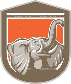 african elephant, animal, artwork, bull, crest, elephant, graphics, head, illustration, isolated, looking up, pachyderm, retro, shield, tusk...