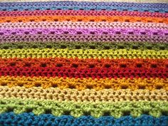 If you're stressed about work or the holidays, try working up this Relaxing Rainbow Crochet Blanket, a bold and fun crochet afghan pattern you'll love! Crochet Afghans, Striped Crochet Blanket, Crochet Stitches, Crochet Baby, Free Crochet, Knit Crochet, Double Crochet, Crochet Blankets, Beginner Crochet