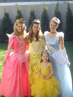 Lovely Aurora, Belle and Cinderella with the little princess Too Cute!