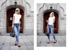Ripped Denim And A Basic Tee.
