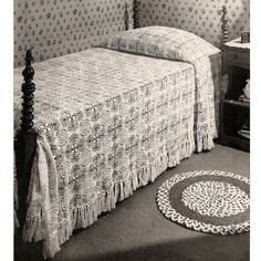This crochet spread pattern has such an interesting textural appearance, helped, of course, with the popcorn, that wonderful variations would include a lap cover, afghan style, for the couch, or shawls.