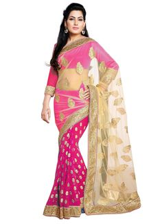 Georgette & Net Embroidered Saree M335-1002-A At Aimdeals.com