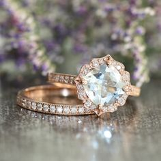 Vintage Floral Aquamarine Engagement Ring Diamond Wedding Ring Bridal Set in 14k Rose Gold 8x8mm Cushion Aquamarine Ring Half Eternity Band by LaMoreDesign on Etsy https://www.etsy.com/listing/218011666/vintage-floral-aquamarine-engagement