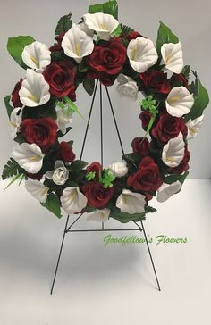 Silk Faux Flower Red Circular Wreath Filled With Red Roses & White Calla Lilies Calla Lilies, Faux Flowers, Red Roses, Floral Arrangements, Floral Wreath, Lily, Wreaths, Beautiful, Home Decor