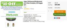 Solgar, Echinacea/Goldenseal Cat& Claw Complex, 60 Veggie Caps   http://iherb.com/Solgar-Echinacea-Goldenseal-Cat-s-Claw-Complex-60-Veggie-Caps/15103