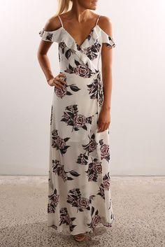 Louche fudge floral pleat maxi dress