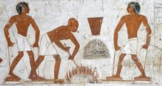 [EGYPT 29360] 'Melting copper in Rekhmire's tomb at Luxor.'  A mural in the tomb of Rekhmire shows several scenes representing the types of labor carried out by craftsmen who worked for the Amon Temple in Karnak. Here we see a charcoal fueled hearth that is operated for the melting of copper ingots. The heat of the fire is made more intense by means of foot-operated bellows made of wood and leather. The men raise the springless bellows by lifting a foot and pulling the cord, then depress…
