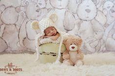 Cream Fuzzy Newborn Teddy Bear Earflap Hat
