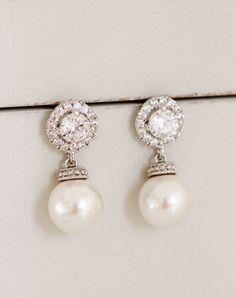Bridesmaid Gift Earrings Wedding Jewelry For Bridesmaids Swarovski Crystal Pearl Earrings Maid of Honor Gift Wedding Bridemaid Jewelry