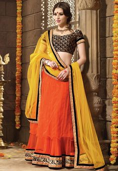 #Orange #Net #Material #Lehenga #with #Choli #And #Dupatta.  #Orange #Net #flared #Material #lehenga #designed #with #Heavy #Zari,#Resham #Embroidery With #Stone #Work And #Butta #Work With #Lace #Border.  INR: 3,641.00  With Contrast Colors & Exclusive Discount  Grab: http://tinyurl.com/zmf86l3
