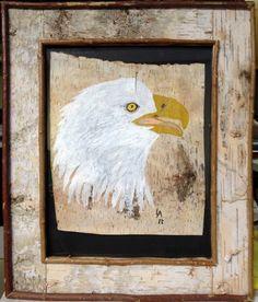 Large Birch Bark Bald Eagle Framed