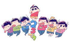Osomatsu-san and Shin-chan together wouls be the ultimate black comedy anime New Year Cartoon, Osomatsu San Doujinshi, Gakuen Babysitters, Crayon Shin Chan, Gekkan Shoujo Nozaki Kun, Comedy Anime, Skullgirls, Cartoon Sketches, Japanese Cartoon