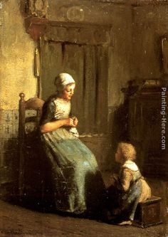 Albert Neuhuys - Albert Neuhuys The Knitting Lesson Painting