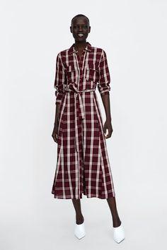 cf9b88e640 ZARA - WOMAN - LONG CHECKERED DRESS Tartan Dress, Tartan Plaid, Zara Outfit,