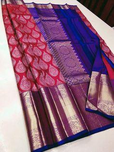 Pattu Sarees Wedding, Wedding Saree Blouse Designs, Half Saree Designs, Bridal Silk Saree, Silk Sarees, Indian Sarees, Chiffon Saree Party Wear, Wedding Saree Collection, Bollywood Bridal