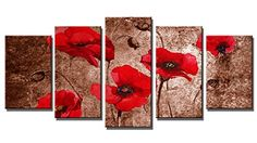 Wieco Art  Red Poppies on Brown 5 Piece Modern Stretched and Framed Floral Giclee Canvas Prints Flowers Pictures Paintings on Canvas Wall Art Ready to Hang for Living Room Bedroom Home Decorations *** AMAZON Great Sale