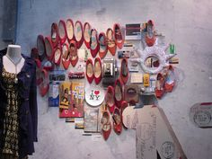 music, shoes, heart, window displays, anthropologie, pumps, collages, windows, shoe window
