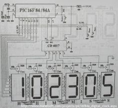 PIC16F84A Digital Clock Schematic